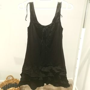 Zara black cotton V neck Sleeveless ruffle dress